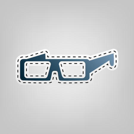 eyewear: Modern glass sign. Vector. Blue icon with outline for cutting out at gray background.