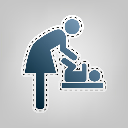 Symbol for women and baby, baby changing. Vector. Blue icon with outline for cutting out at gray background. Illustration