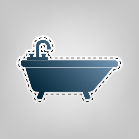 Bathtub sign illustration. Vector. Blue icon with outline for cutting out at gray background. Illustration