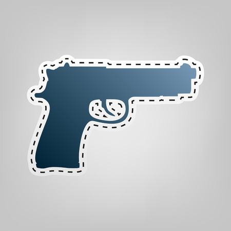 Gun sign illustration. Vector. Blue icon with outline for cutting out at gray background. Illustration