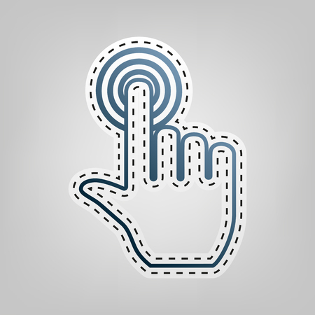 Hand click on button. Vector. Blue icon with outline for cutting out at gray background.