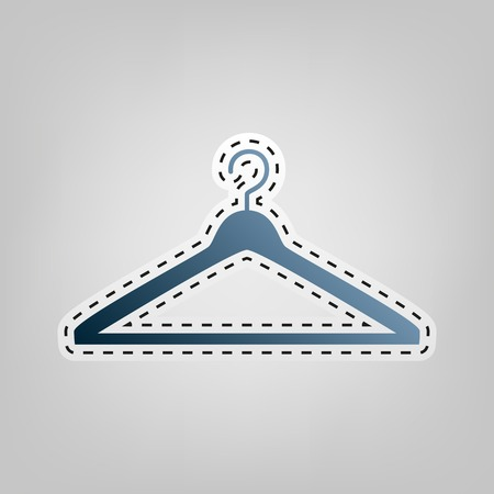 Hanger sign illustration. Vector. Blue icon with outline for cutting out at gray background. Illustration