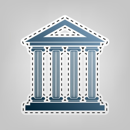 roman pillar: Historical building illustration. Vector. Blue icon with outline for cutting out at gray background.