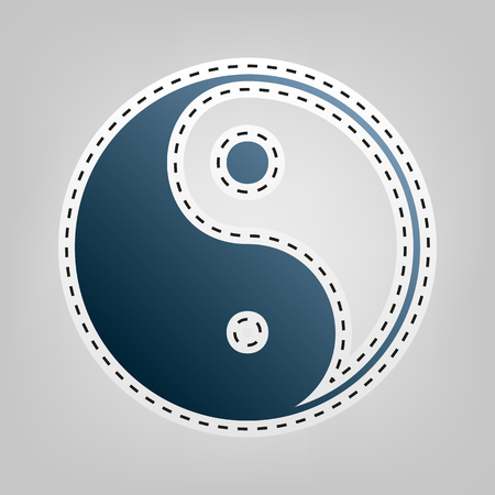 yin y yan: Ying yang symbol of harmony and balance. Vector. Blue icon with outline for cutting out at gray background. Foto de archivo