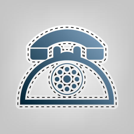 Retro telephone sign. Vector. Blue icon with outline for cutting out