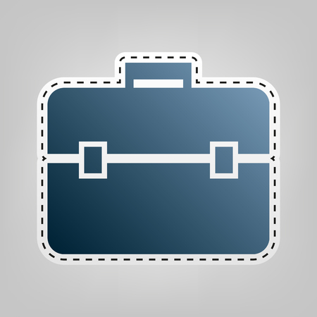 Briefcase sign illustration. Vector. Blue icon with outline for cutting out