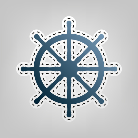 Ship wheel sign. Vector. Blue icon with outline for cutting out