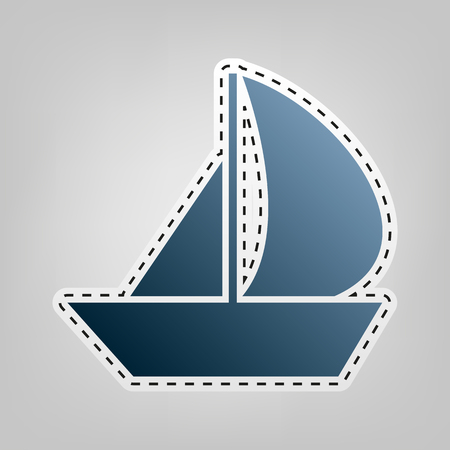 Sail Boat sign. Vector. Blue icon with outline for cutting out