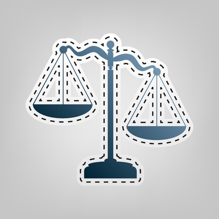 Scales of Justice sign. Vector. Blue icon with outline for cutting out