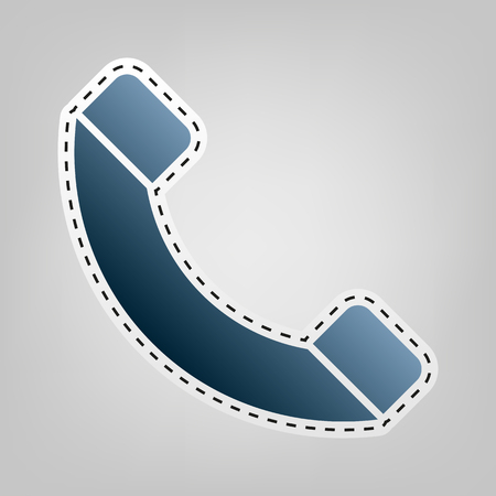 Phone sign illustration. Vector. Blue icon with outline for cutting out