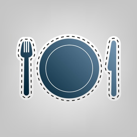 Fork, plate and knife. Vector. Blue icon with outline for cutting out Illustration