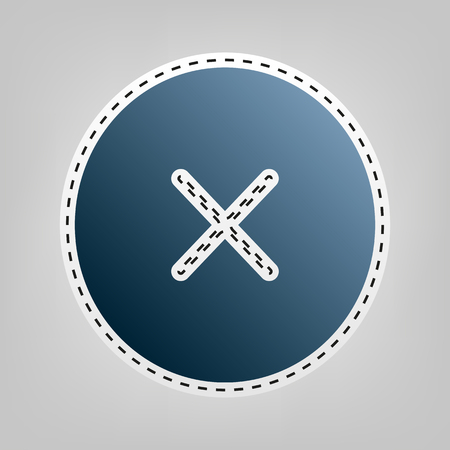 stick out: Cross sign illustration. Vector. Blue icon with outline for cutting out