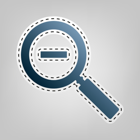inspector: Zoom sign illustration. Vector. Blue icon with outline for cutting out at gray background.