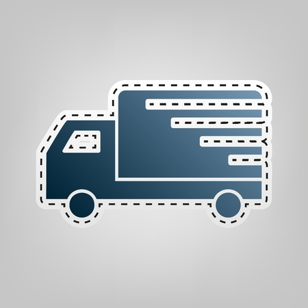 semitruck: Delivery sign illustration. Vector. Blue icon with outline for cutting out at gray background.