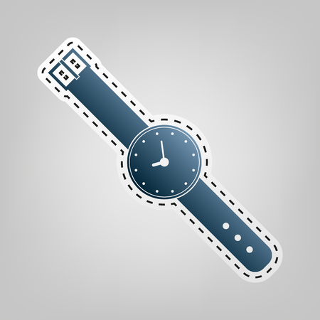 appointments: Watch sign illustration. Vector. Blue icon with outline for cutting out at gray background.