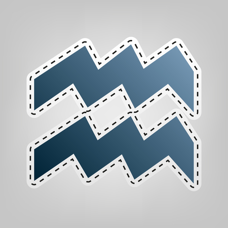 Aquarius sign illustration. Vector. Blue icon with outline for cutting out at gray background.