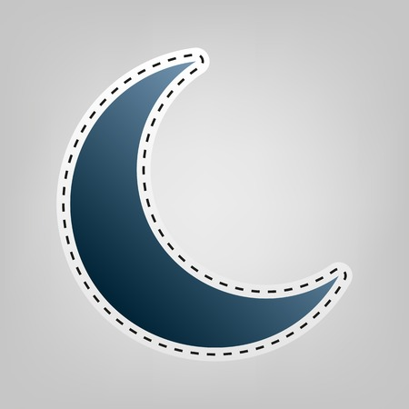 night out: Moon sign illustration. Vector. Blue icon with outline for cutting out at gray background.