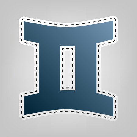 Gemini sign. Vector. Blue icon with outline for cutting out at gray background. Illustration