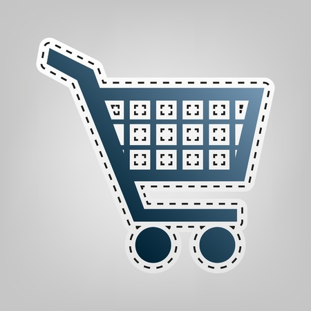 Shopping cart sign. Vector. Blue icon with outline for cutting out at gray background.