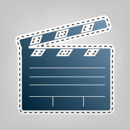 flick: Film clap board cinema sign. Vector. Blue icon with outline for cutting out at gray background.