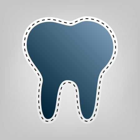 Tooth sign illustration. Vector. Blue icon with outline for cutting out at gray background. Illustration