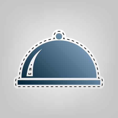 cook out: Server sign illustration. Vector. Blue icon with outline for cutting out at gray background.