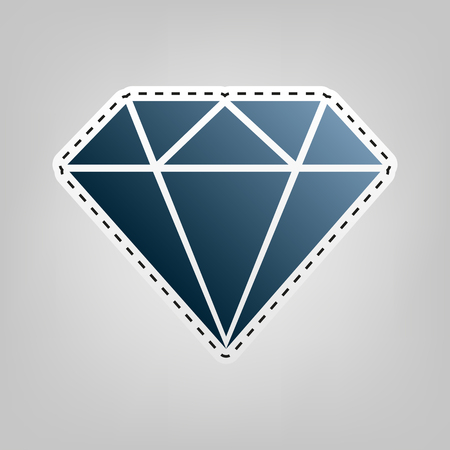Diamond sign illustration. Vector. Blue icon with outline for cutting out at gray background.