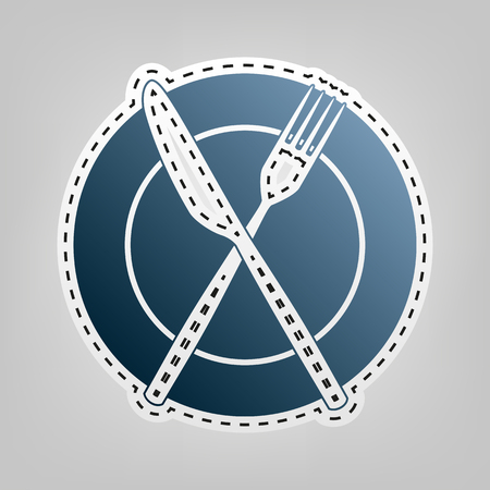 Fork, Knife and Plate sign. Vector. Blue icon with outline for cutting out at gray background.