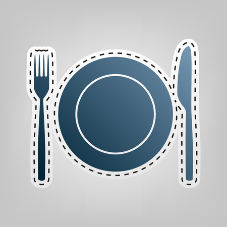 stainless steel: Fork, Knife and Plate sign. Vector. Blue icon with outline for cutting out at gray background.
