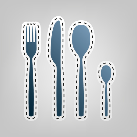 Fork spoon and knife sign. Vector. Blue icon with outline for cutting out at gray background.
