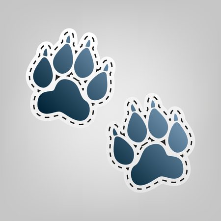 grey cat: Animal Tracks sign. Vector. Blue icon with outline for cutting out at gray background.