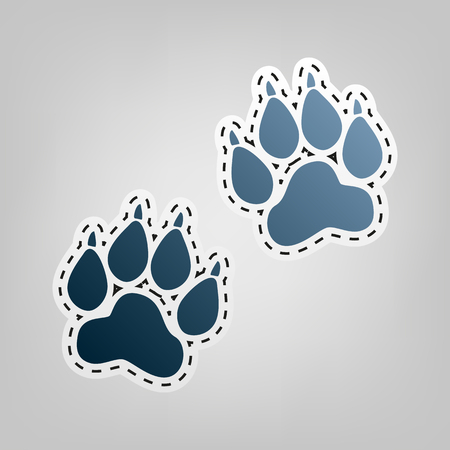 Animal Tracks sign. Vector. Blue icon with outline for cutting out at gray background.