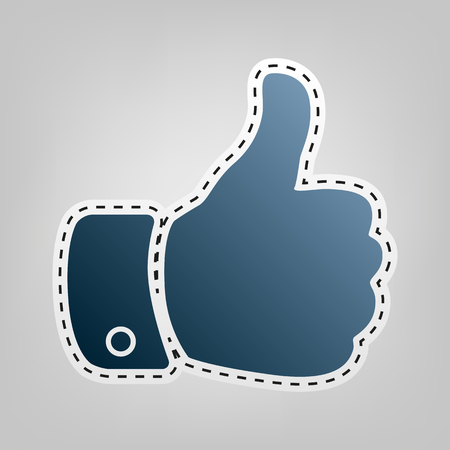 Hand sign illustration. Vector. Blue icon with outline for cutting out at gray background. Illustration