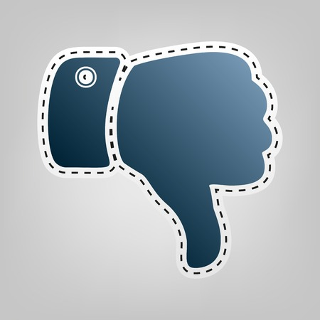disapprove: Hand sign illustration. Vector. Blue icon with outline for cutting out at gray background. Illustration