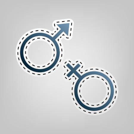 セックス シンボル サイン。ベクトル。青色のアイコンは、灰色の背景の切り出しの概要と。