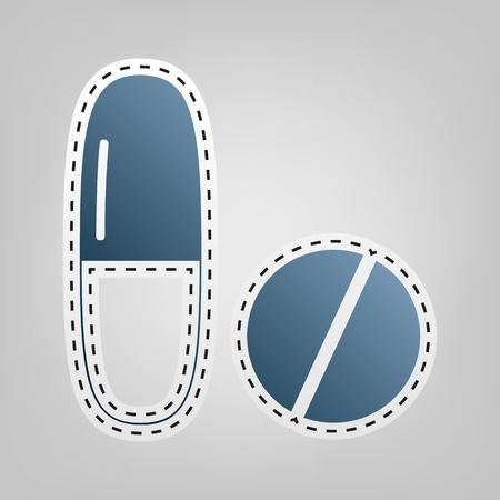 Medical pills sign. Vector. Blue icon with outline for cutting out at gray background.