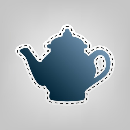 Tea maker sign. Vector. Blue icon with outline for cutting out at gray background. Illustration