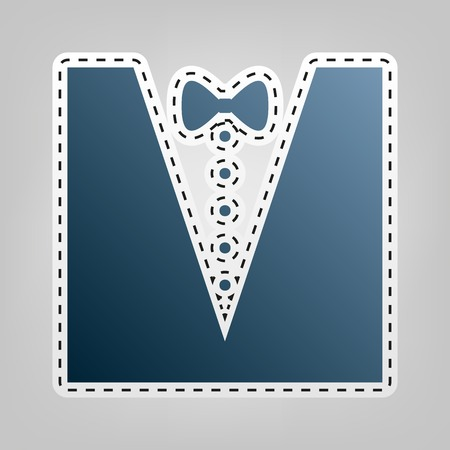 wedding dress: Tuxedo with bow silhouette. Vector. Blue icon with outline for cutting out at gray background.