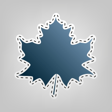 Maple leaf sign. Vector. Blue icon with outline for cutting out at gray background.