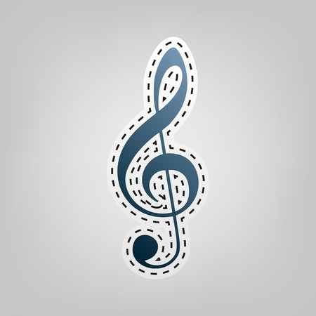 creator: Music violin clef sign. G-clef. Treble clef. Vector. Blue icon with outline for cutting out at gray background. Illustration