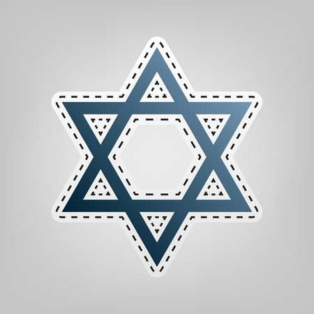 hannukah: Shield Magen David Star. Symbol of Israel. Vector. Blue icon with outline for cutting out at gray background. Illustration