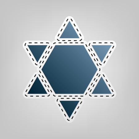 chanukkah: Shield Magen David Star Inverse. Symbol of Israel inverted. Vector. Blue icon with outline for cutting out at gray background. Illustration