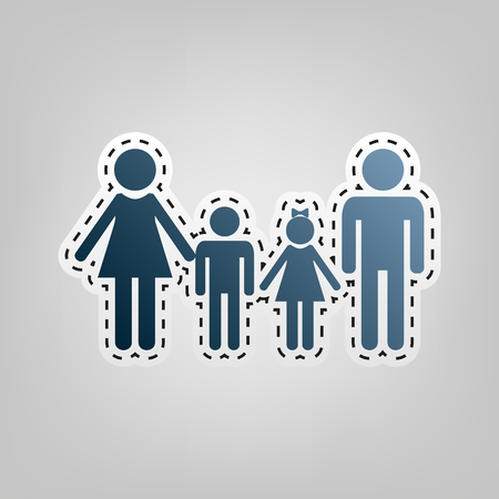Family sign. Vector. Blue icon with outline for cutting out at gray background.