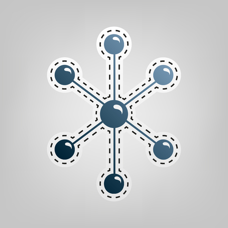 atomic symbol: Molecule sign illustration. Vector. Blue icon with outline for cutting out at gray background. Illustration