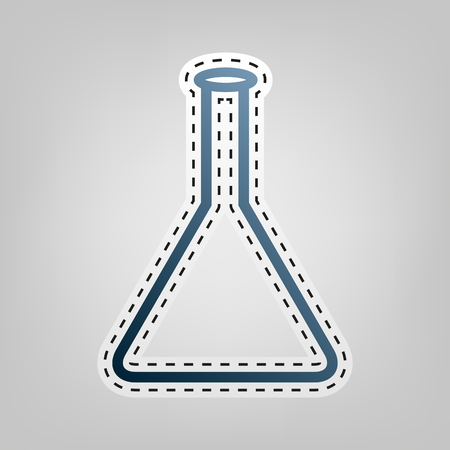 Conical Flask sign. Vector. Blue icon with outline for cutting out at gray background.