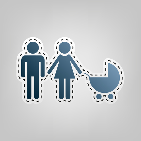 Family sign illustration. Vector. Blue icon with outline for cutting out at gray background.