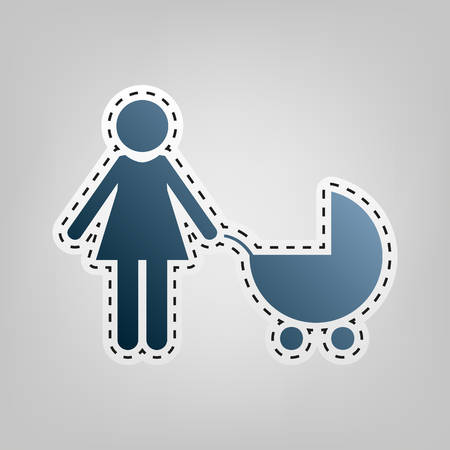 mother and baby: Family sign illustration. Vector. Blue icon with outline for cutting out at gray background.