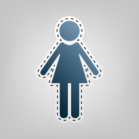 Woman sign illustration. Vector. Blue icon with outline for cutting out at gray background. Illustration