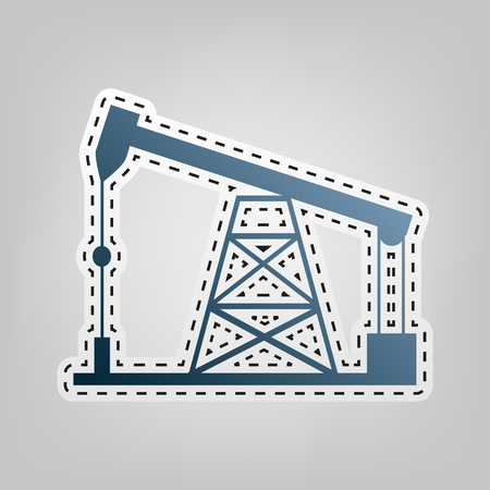 'rig out': Oil drilling rig sign. Vector. Blue icon with outline for cutting out at gray background.
