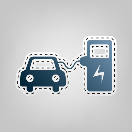 Electric car battery charging sign. Vector. Blue icon with outline for cutting out at gray background.